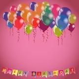 Alles- Gute zum Geburtstagrosahintergrundeinladungs- oder -glückwunschkartenschablone Stockfotografie