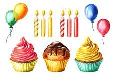 Alles- Gute zum Geburtstagsatz mit Kuchen, Kerze und Ballon Gezeichnete Illustration des Aquarells Hand, lokalisiert auf weißem H Stockbild