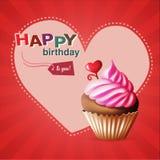 Alles- Gute zum Geburtstagschablonenkarte mit Kuchen und Text Lizenzfreie Stockfotografie
