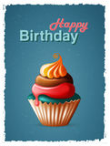 Alles- Gute zum Geburtstagschablonenkarte mit Kuchen und Text Stockbilder