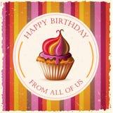 Alles- Gute zum Geburtstagschablonenkarte mit Kuchen und Text Stockfotos