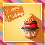 Alles- Gute zum Geburtstagschablonenkarte mit Kuchen und Text Stockbild
