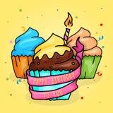 Alles- Gute zum Geburtstagschalen-Kuchen mit Kerze und Band Hand gezeichnete Artillustration stockfoto