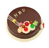 Alles- Gute zum Geburtstagschokoladenkuchen auf Weiß Stockfotografie