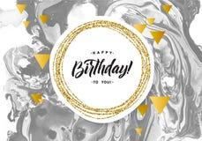Alles- Gute zum Geburtstagschwarz-Marmor-Beschaffenheits-Karte Schimmer-goldene Fahnen-Schablone auf weißem Hintergrund Vektor-Il Stockfotos