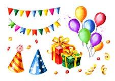 Alles Gute zum Geburtstagset Bunte Girlanden, Geschenkboxen, Ballone, Geburtstagskappen gezeichnete Illustration des Aquarells Ha Stockfoto