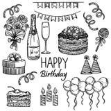 Alles Gute zum Geburtstagset stock abbildung