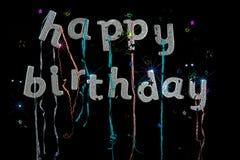 Alles- Gute zum Geburtstagsplitterfunkelntext Grußkartenbild Schwarzes b lizenzfreies stockbild