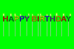 Alles- Gute zum Geburtstagtext-Kerzen lokalisiert Lizenzfreies Stockfoto