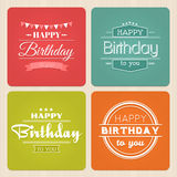 Alles- Gute zum Geburtstagtypographieaufkleber-Vektorsatz Lizenzfreies Stockfoto