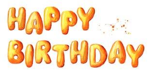 Alles- Gute zum Geburtstagtypographiedesign für Grußkarten und -Poster Gezeichnete Illustration des Aquarells Hand, lokalisiert a Lizenzfreie Stockfotografie