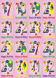 Alles- Gute zum Geburtstagvektor-Karten-Satz Lizenzfreies Stockbild
