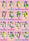 Alles- Gute zum Geburtstagvektor-Karten-Satz Lizenzfreie Stockbilder