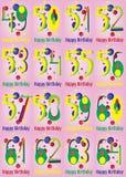 Alles- Gute zum Geburtstagvektor-Karten-Satz Stockfotos