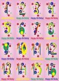Alles- Gute zum Geburtstagvektor-Karten-Satz Lizenzfreie Stockfotos