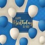 Alles- Gute zum Geburtstagvektor-Kartendesign mit Fliegen steigt im Ballon auf Modischer Hintergrund der Weinlese Lizenzfreie Stockfotografie