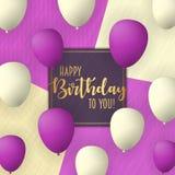 Alles- Gute zum Geburtstagvektor-Kartendesign mit Fliegen steigt im Ballon auf Modischer Hintergrund der Weinlese lizenzfreies stockfoto