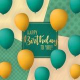 Alles- Gute zum Geburtstagvektor-Kartendesign mit Fliegen steigt im Ballon auf Modischer Hintergrund der Weinlese lizenzfreie stockfotos