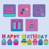 Alles- Gute zum Geburtstagvektor und Ikone Lizenzfreie Stockfotografie
