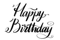 Alles- Gute zum Geburtstagwörter Übergeben Sie gezogene kreative Kalligraphie und bürsten Sie Stiftbeschriftung, Design für Feier Stockfotografie