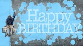 Alles- Gute zum Geburtstagwandblau lizenzfreies stockfoto