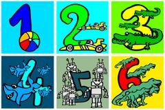 Alles- Gute zum Geburtstagzahlen, die Zahlen mit Bildern über Hobbys von 1 - 6 für Kinderteil 1 gespielt werden und gelernt sind lizenzfreie abbildung
