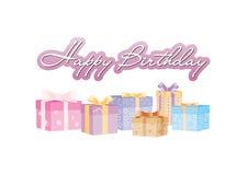 Alles Gute zum Geburtstagzeichen mit giftboxes Stockfotografie