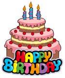 Alles Gute zum Geburtstagzeichen mit Kuchen Stockfoto
