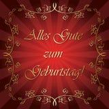 Alles gutezum Geburtstag - ljust rött vektorhälsningkort Fotografering för Bildbyråer