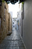 Alley. View of an Alleyn in Rhodos, one of the largest islands in Greece Stock Image