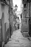 Alley. In south Italy (Black & white&#x29 stock image
