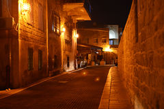 Alley in Acre Akko at night Stock Images