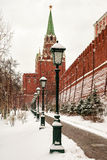 Alley Alexander Garden near the walls of the Moscow Kremlin, Rus Royalty Free Stock Photo