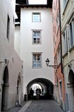 Alley and arcade. In the center of the province of Trento in Rovereto pedestrian access only stock photos