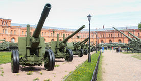 Alley of artillery in the museum. Royalty Free Stock Photos