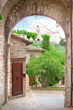 Alley in Assisi, the city of St. Francis, patron saint of Italy Stock Images