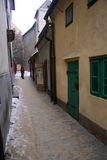 Alley. Beautiful and historic narrow street in Prague - Czech Republic royalty free stock images