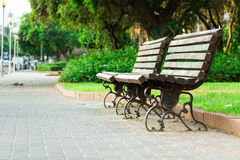 Alley with benches Stock Photography
