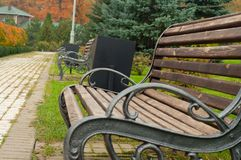 Alley of the benches in the park Royalty Free Stock Photo