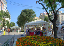 Alley of the book,Varna. Alley of the book at Varna main pedestrian street.The event  is the biggest Bulgarian book fair in the open .Between July 31 and August Stock Image