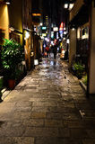 Alley of busy street of Osaka city, Japan. Royalty Free Stock Photo