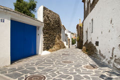 Alley in Cadaques, Catalonia Stock Photo