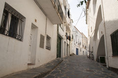 Alley in Cadaques, Catalonia Stock Photography