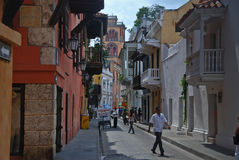 Alley in Cartagena, Colombia Royalty Free Stock Photos