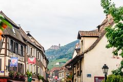 Alley with Castle in Alsace Royalty Free Stock Images