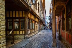 Alley of Cats in historic centre of Troyes with half timbered buildings. In Troyes, Aube, France on 31 August 2018 stock photos