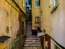 Dionisiou Solomou. Narrow stairs leading up in Dionisiou Solomou, Corfu, Greece Royalty Free Stock Photo