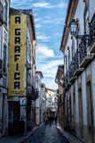 A Grafica. Alley in the city of Tomar, Portugal stock photography