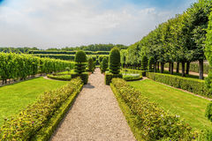 Alley with clipped trees and shrubs in the gardens of the castle of Villandry, France Stock Photo