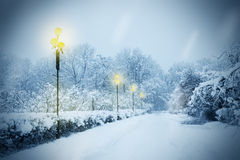 Alley covered with snow Royalty Free Stock Image